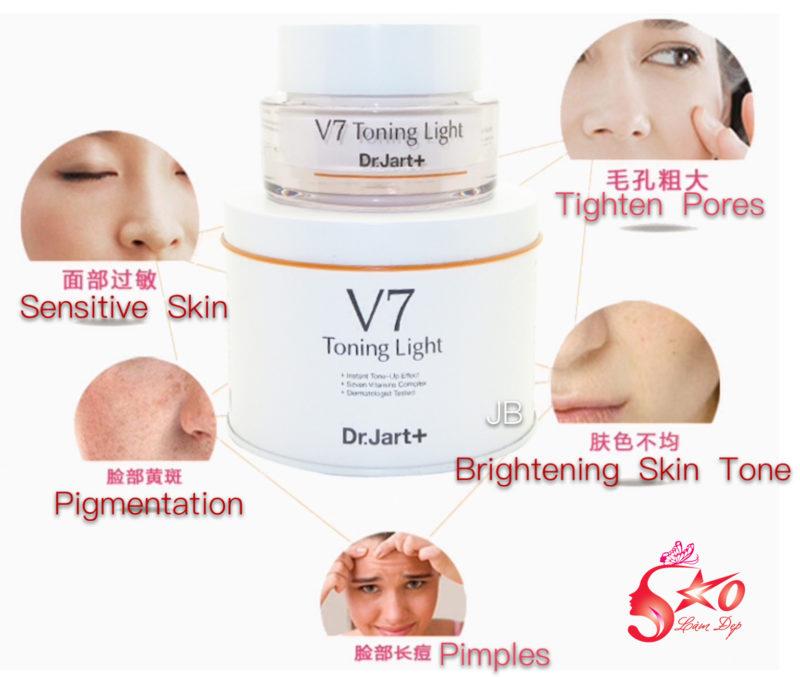 Kem dưỡng trắng trị nám tái tạo da DR.JART+ V7 Toning Light