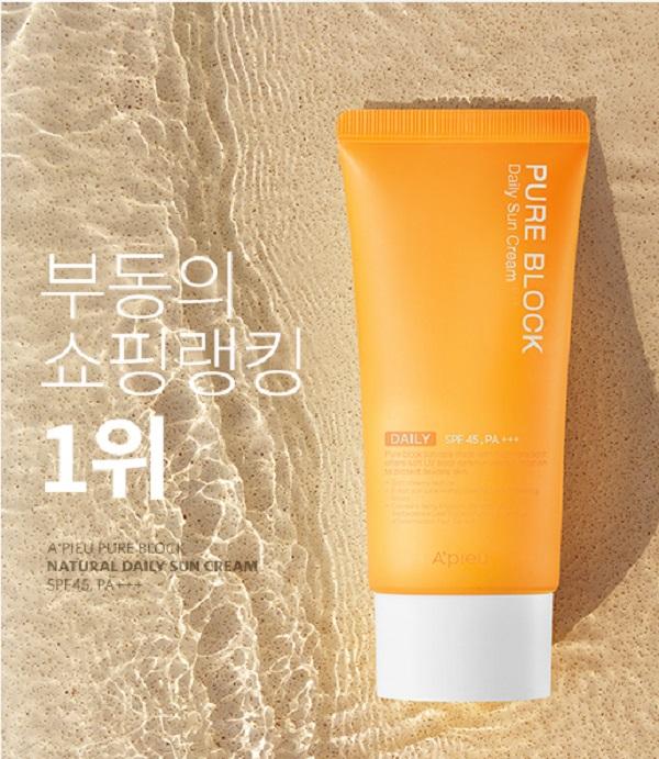 Kem chống nắng Apieu Pure Block Natural Daily Sun SPF45 PA+++