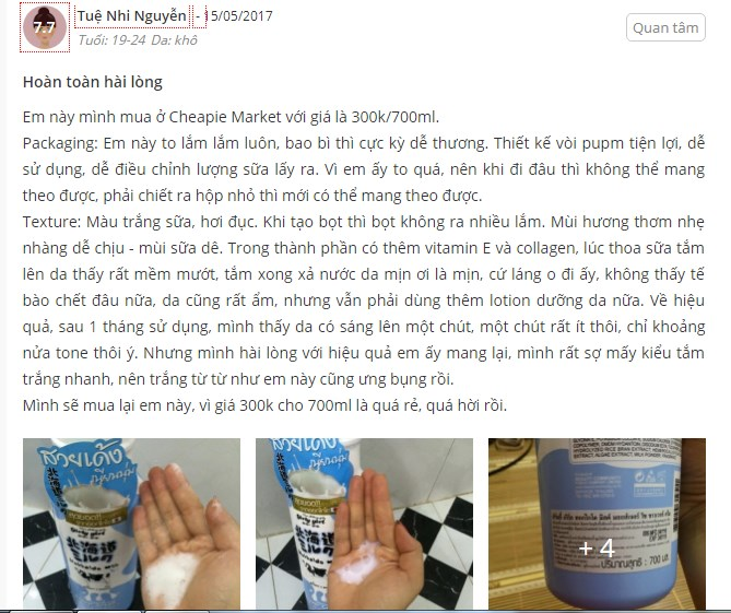 Sữa tắm Hokkaido Milk Whitening AHA Shower Cream