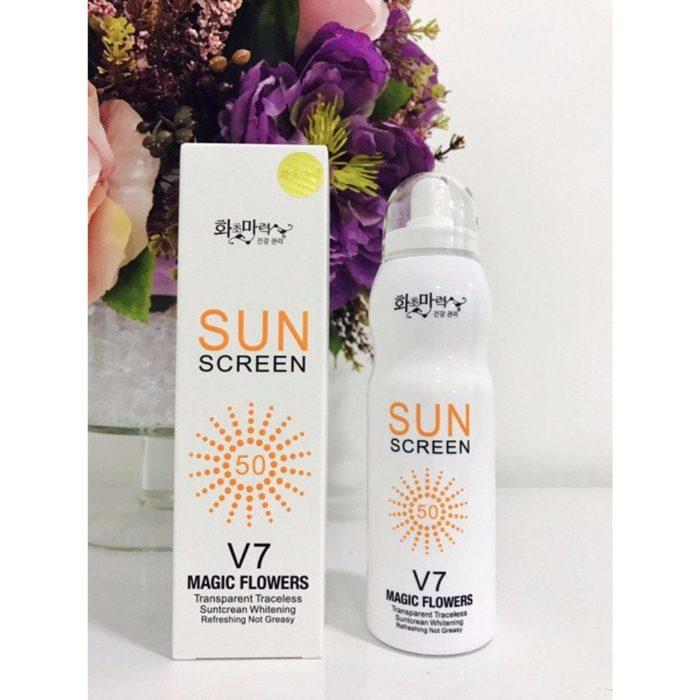 Xịt chống nắng SunScreen V7 Magic Flowers SPF 50+